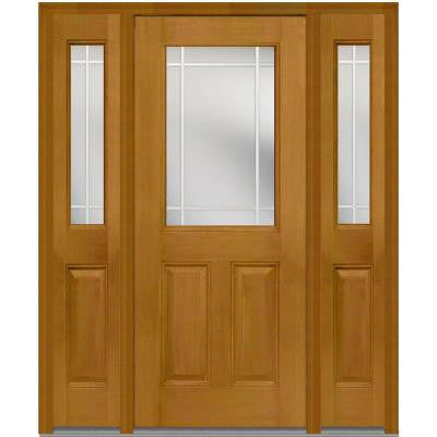 60 in. x 80 in. Classic Clear Glass PIM 1/2 Lite Finished Mahogany Fiberglass Prehung Front Door with Sidelites