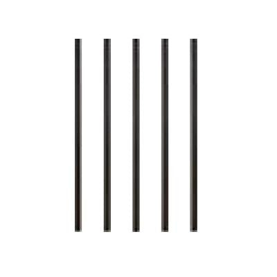 32 in. x 3/4 in. Black Aluminum Round Fine Textured Deck Railing Baluster with Connectors (5-Pack)