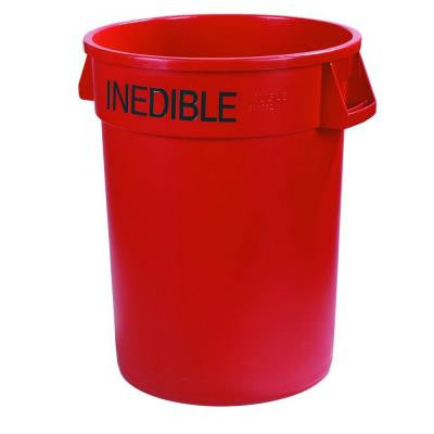 Bronco 20 Gal. Red Round Trash Can Imprinted with Inedible (6-Pack)
