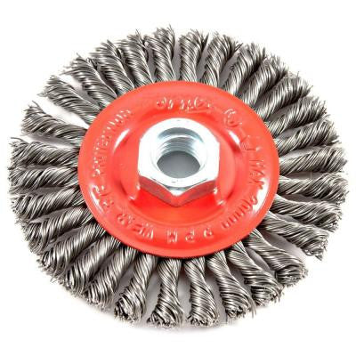 4 in. x 5/8 in.-11 Threaded Arbor Stringer Bead Twist Wire Wheel Brush