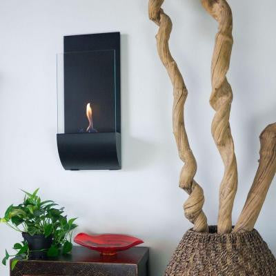 Torcia 11.75 in. Wall-Mount Decorative Bio-Ethanol Fireplace in Matte Black