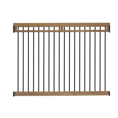 4.5 ft. x 6 ft. Cedar-Tone Colored Pressure-Treated Pine Pool Fence Kit with Aluminum Pickets