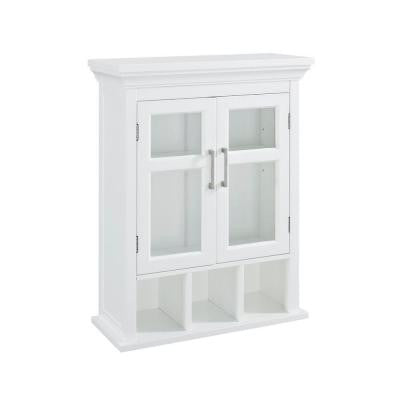 Avington 23.63 in. W Wall Cabinet with 2 Tempered Glass Doors and Cubbies in White