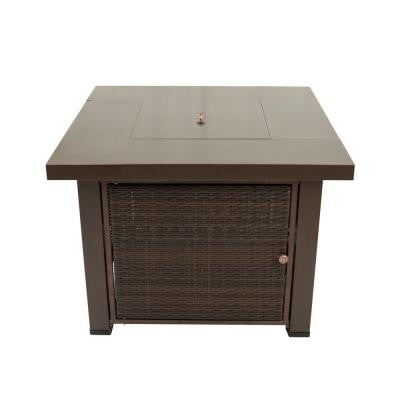 Rio 38 in. Square Wicker Gas Fire Pit Table