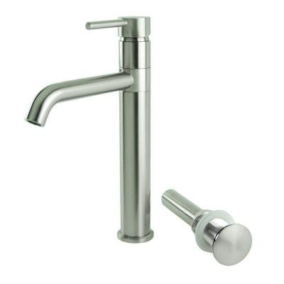 Single Hole 1-Handle Swivel Arm Euro Vessel Sink Filler Faucet in Brushed Nickel with Drain