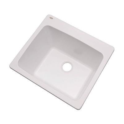 Wakefield Dual Mount Natural Stone Composite 25 in. Single Bowl Utility Sink in White