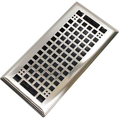 Egg Crate 3 in. x 10 in. Steel Floor Register in Brushed Nickel