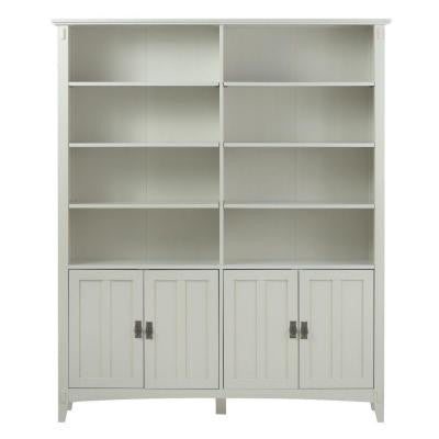 Artisan in Wood Double Wide 8-Shelf Open Bookcase in White