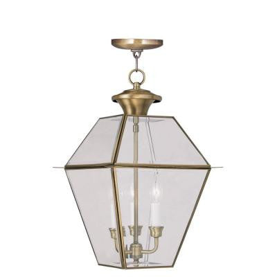 Providence 3-Light Hanging Outdoor Antique Brass Incandescent Lantern