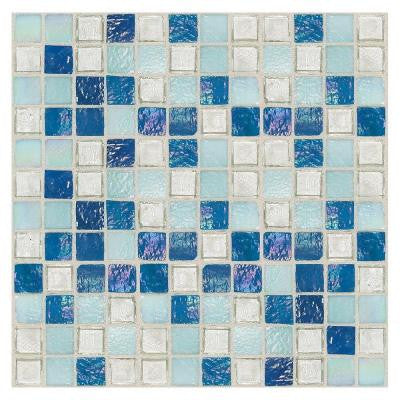 Egyptian Glass Blue Pearl Mix 12 in. x 12 in. x 6 mm Glass Face-Mounted Mosaic Wall Tile