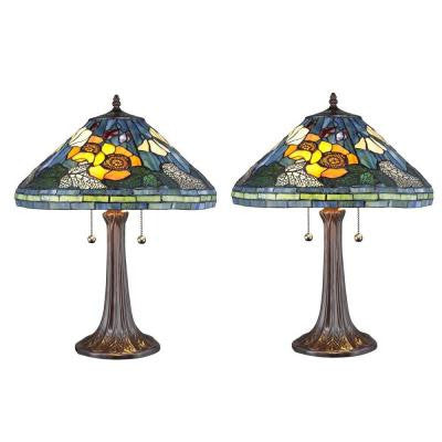 Tiffany Golden Poppy 23 in. Bronze Table Lamp Set