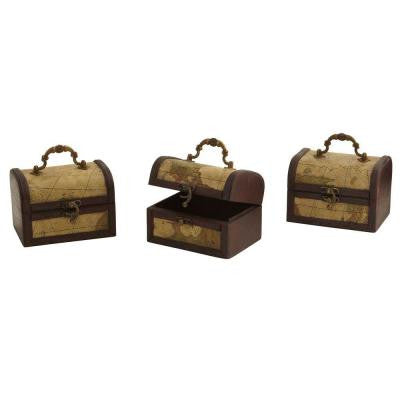 Decorative Trunk Chests with Map Design (Set of 3)