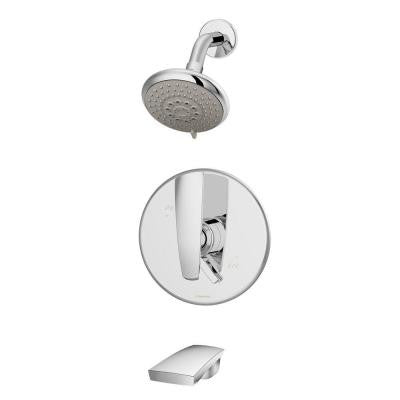 Naru 1-Handle 3-Spray Tub and Shower Faucet in Chrome