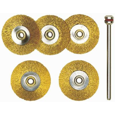 22 mm Brass Wheel Brushes (5-Piece)