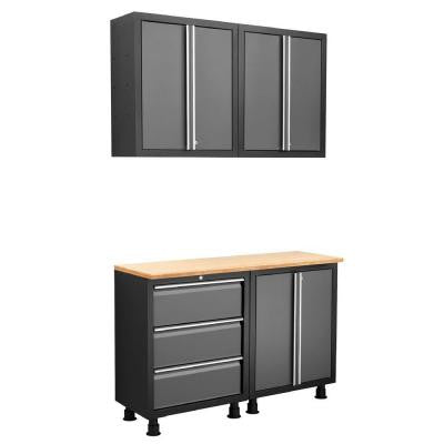 Ready-to-Assemble 80 in. H x 52 in. W x 18 in. D Steel Garage Cabinet Set in Gray (5-Piece)