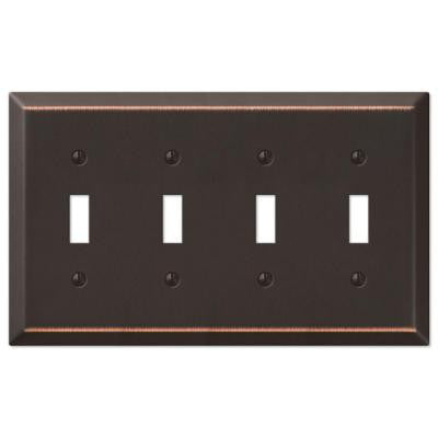 Steel 4 Toggle Wall Plate - Aged Bronze