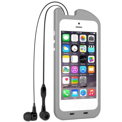 TurtleCell Retractable Headphone Case for iPhone 5/5S - Grey