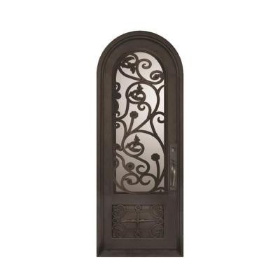 38 in. x 110 in. Fero Fiore Classic 3/4 Lite Painted Oil Rubbed Bronze Decorative Wrought Iron Prehung Front Door