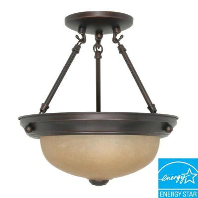 2-Light Mahogany Bronze Semi-Flush Mount Dome Light