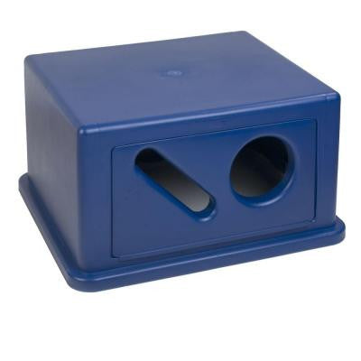 56 Gal. Blue Square Trash Can Hooded Recycling Dome Top for Cans and Paper