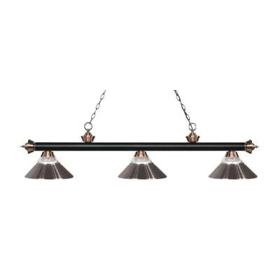 Annika 3-Light Matte Black and Antique Copper Island Light with Clear Ribbed Glass and Brushed Nickel Shades