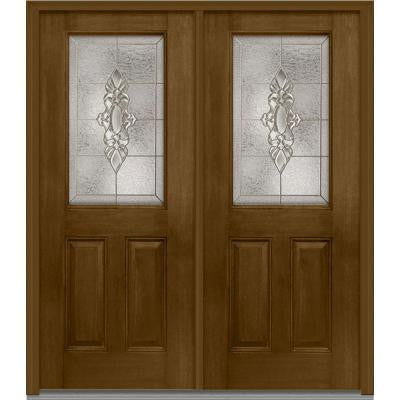 64 in. x 80 in. Heirloom Master Decorative Glass 1/2 Lite Finished Mahogany Fiberglass Double Prehung Front Door