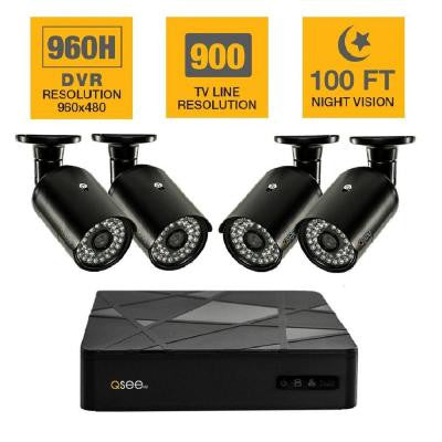 4-Channel 960H 500GB Surveillance System with (4) 900TVL Camera and 100 ft. Night Vision