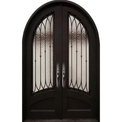 74 in. x 110 in. Concord Classic 3/4 Lite Painted Oil Rubbed Bronze Decorative Wrought Iron Prehung Front Door