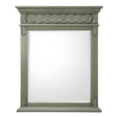 Maribelle 28 in. W x 34.5 in. H Single Wall Hung Mirror in Loden Green