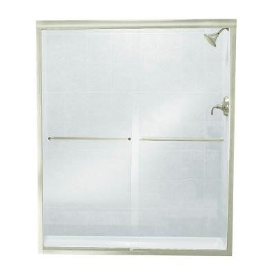 Finesse 57 in. x 70-1/16 in. Semi-Framed Sliding Shower Door in Nickel
