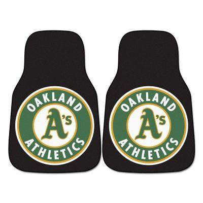 Oakland Athletics 18 in. x 27 in. 2-Piece Carpeted Car Mat Set