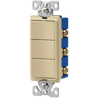 15-Amp 120-Volt 3-Way Decorator 3 Single-Pole Combination Switches - Ivory