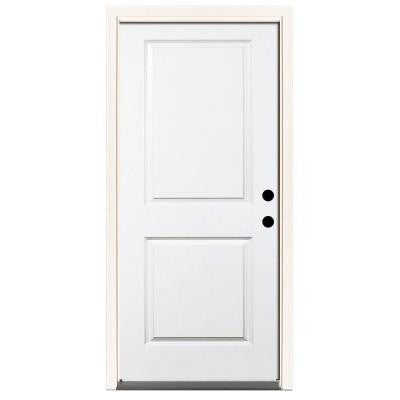 36 in. x 80 in. Premium 2-Panel Square Primed White Steel Prehung Front Door with 36 in. Left-Hand Inswing & 6 in. Wall