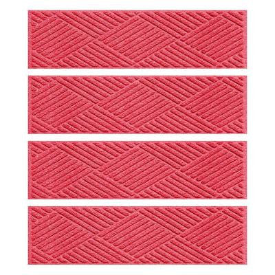 Red 8.5 in. x 30 in. Diamonds Stair Tread (Set of 4)