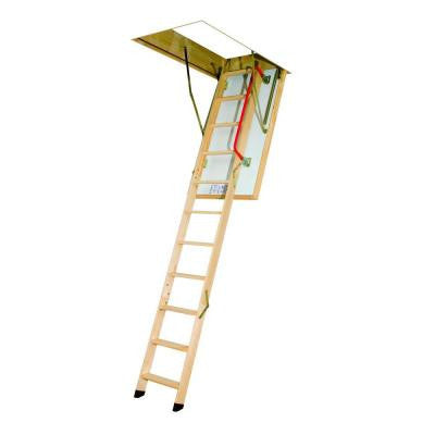 LTK 47 in. x 25 in. x 8.11 ft. Wooden Thermo Attic Ladder with 300 lb. Load Capacity