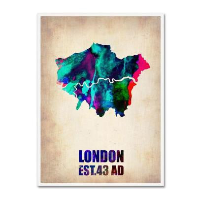 19 in. x 14 in. London Watercolor Map 2 Canvas Art