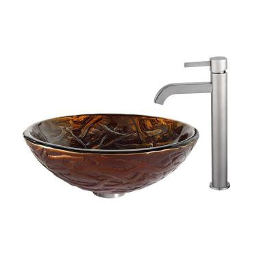 Dryad Glass Vessel Sink in Multicolor and Ramus Faucet in Satin Nickel
