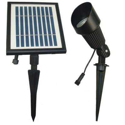 Solar Powered Black Outdoor Spot Light with Warm White LEDs