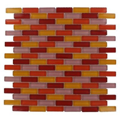 Polished Brick Pattern 12 in. x 12 in. x 8 mm Glass Mosaic Floor and Wall Tile