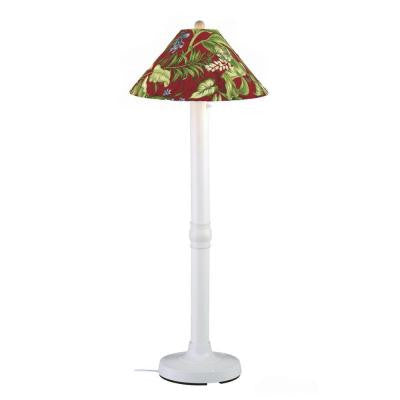 Seaside 60 in. Outdoor White Floor Lamp with Lacquer Shade