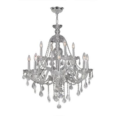 Provence Collection 12-Light Chrome and Clear Crystal Chandelier