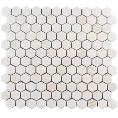 Structure Hex Thassos White 11 in. x 11-5/8 in. x 8 mm Natural Marble Mosaic Tile