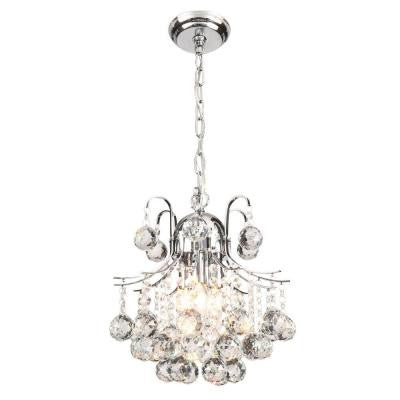 Arden Victorian 3-Light Crystal Chrome Chandelier