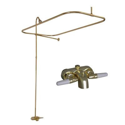 Metal Lever 2-Handle Claw Foot Tub Faucet with Riser, Showerhead and 48 in. Rectangular Shower Unit in Polished Brass