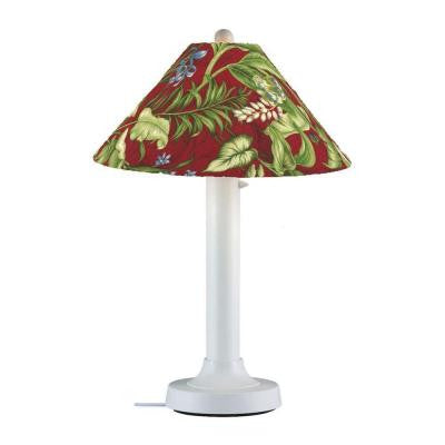 Catalina 34 in. Outdoor White Table Lamp with Lacquer Shade