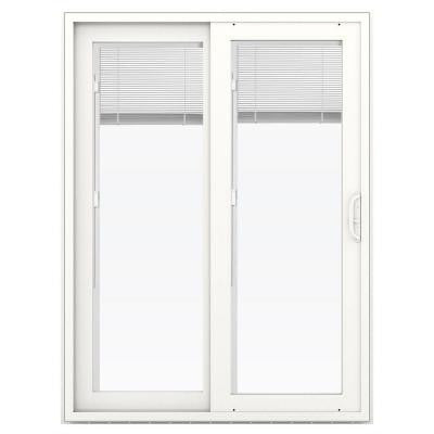 59.5 in. x 79.5 in. V-4500 Vinyl Hartford Green Prehung Right-Hand Sliding Patio Door with Blinds