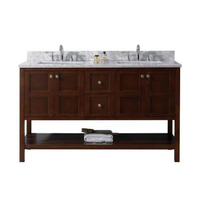 Winterfell 60 in. W x 22 in. D x 36 in. H Vanity in Cherry with Marble Vanity Top in White and Round Basin