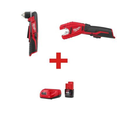 M12 12-Volt Lithium-Ion 3/8 in. Right Angle Drill and M12 Copper Tubing Cutter (Tool-Only) with M12 Starter Kit
