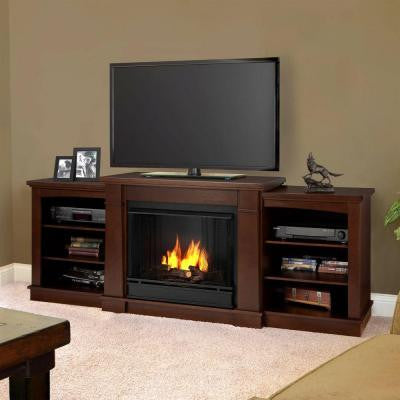 Hawthorne 75 in. Media Console Gel Fuel Fireplace in Dark Espresso
