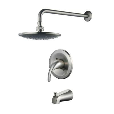 Single-Handle Pressure Balanced Tub and Shower Faucet in Brushed Nickel